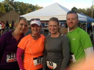 Kait, Me, my beautiful friend Amanda, and her running buddy, Brad.  So proud of my girls!! Amanda killed her first half mary!